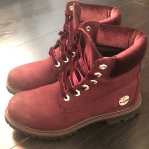 Burgundy Timberland boots w/ velvet trim & laces